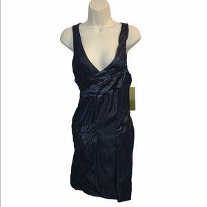 NEW Nicole Miller Blue Metallic Cocktail Dress 6 S